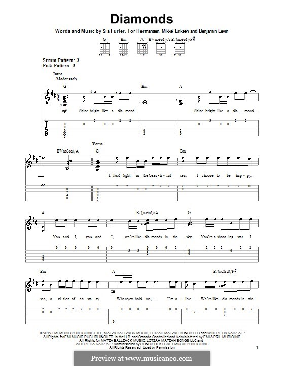 Diamonds (Rihanna): Für Gitarre mit Tab by Benjamin Levin, Mikkel Storleer Eriksen, Sia Furler