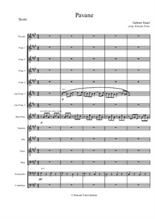 Pavane, Op.50: For flute choir with cello, contrabass and mixed choir by Gabriel Fauré