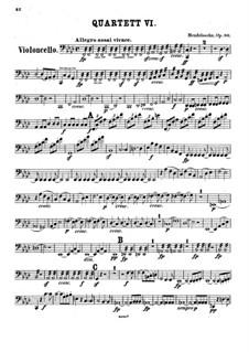 Streichquartett Nr.6 in f-Moll, Op.80: Cellostimme by Felix Mendelssohn-Bartholdy