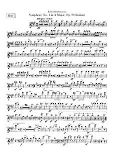 Sinfonie Nr.4 in A-Dur 'Italienische', Op.90: Flötenstimme by Felix Mendelssohn-Bartholdy