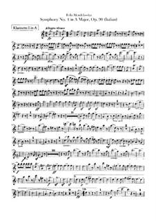 Sinfonie Nr.4 in A-Dur 'Italienische', Op.90: Klarinettenstimmen by Felix Mendelssohn-Bartholdy
