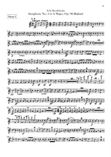 Sinfonie Nr.4 in A-Dur 'Italienische', Op.90: Hörnerstimme by Felix Mendelssohn-Bartholdy