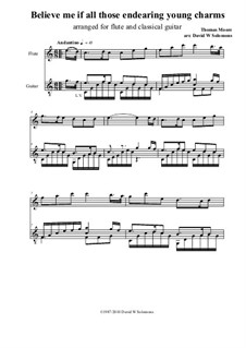 Believe Me, if All Those Endearing Young Charms: Für Flöte und Gitarre by Thomas Moore