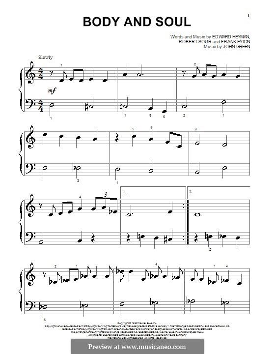 Body and Soul: Für Klavier by John W. Green