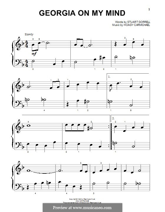 Georgia on My Mind, for Piano: Easy version by Hoagy Carmichael