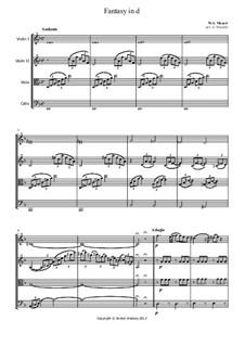 Fantasie für Klavier Nr.3 in d-Moll, K.397: Version for string quartet – parts by Wolfgang Amadeus Mozart