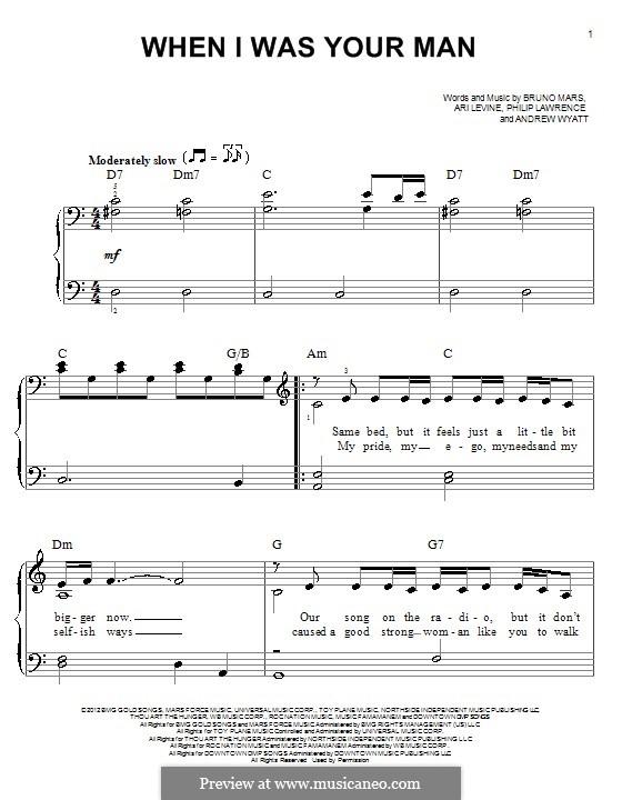 When I Was Your Man: Für Klavier by Andrew Wyatt, Ari Levine, Bruno Mars, Philip Lawrence