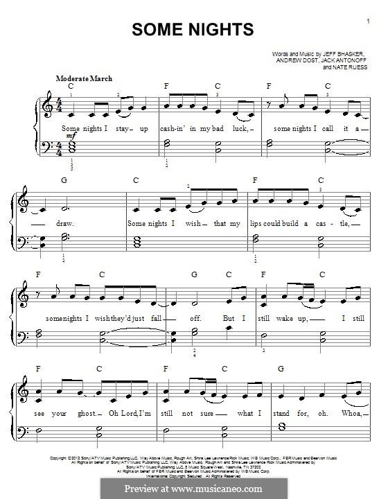 Some Nights (Fun): Für Klavier by Jeff Bhasker, Jack Antonoff, Andrew Dost, Nathaniel Ruess