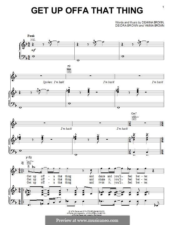 Get Up Offa That Thing: Für Stimme und Klavier (oder Gitarre) by James Brown