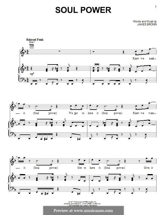 Soul Power: Für Stimme und Klavier (oder Gitarre) by James Brown