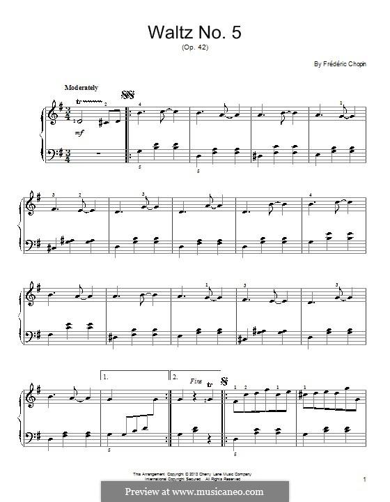 Walzer in As-Dur, Op.42: Einfache Noten für Klavier by Frédéric Chopin