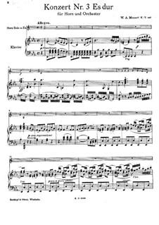 Konzert für Horn und Orchester Nr.3 in Es-Dur, K.447: Bearbeitung für Horn in Es und Klavier by Wolfgang Amadeus Mozart