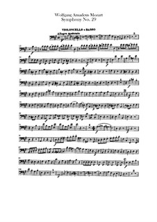 Sinfonie Nr.29 in A-Dur, K.201: Cello- und Kontrabass-Stimme by Wolfgang Amadeus Mozart