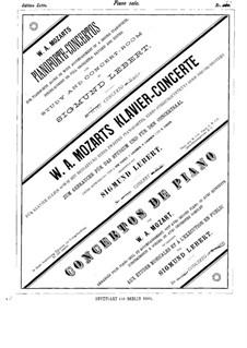 Konzert für Klavier und Orchester Nr.9 in Es-Dur 'Jeunehomme', K.271: Solostimme by Wolfgang Amadeus Mozart