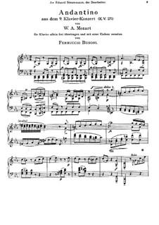 Konzert für Klavier und Orchester Nr.9 in Es-Dur 'Jeunehomme', K.271: Bearbeitung für Klavier by Wolfgang Amadeus Mozart
