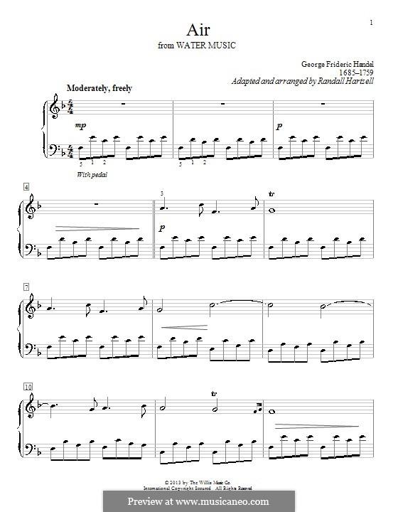 Suite Nr.1 in F-Dur, HWV 348: Arie, einfache Noten für Klavier by Georg Friedrich Händel