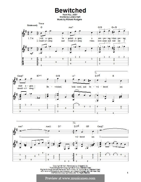 Bewitched (The Betty Smith Group): For voice and guitar (with tablature) by Richard Rodgers