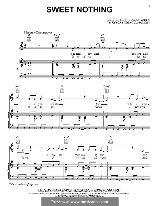 Sweet Nothing: Für Stimme und Klavier (oder Gitarre) by Calvin Harris, Florence Welch, Tom Hull