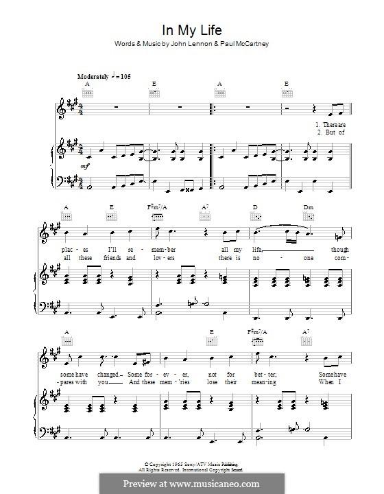 In My Life (The Beatles): Für Stimme und Klavier (oder Gitarre) by John Lennon, Paul McCartney