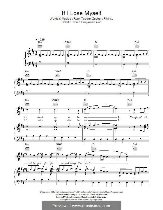 If I Lose Myself (One Republic): Für Stimme und Klavier (oder Gitarre) by Benjamin Levin, Brent Kutzle, Ryan B Tedder, Zachary Filkins
