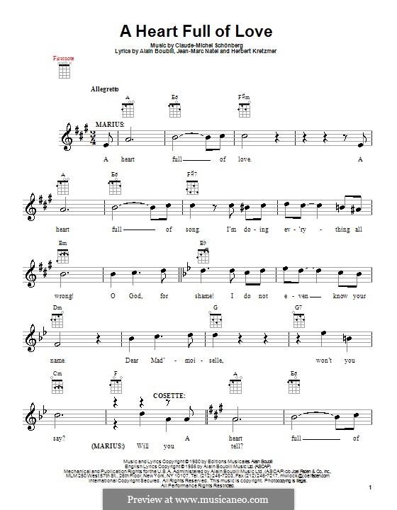 A Heart Full of Love: Für Ukulele by Claude-Michel Schönberg