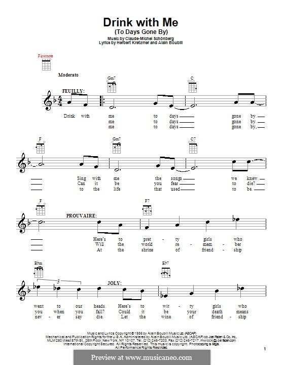 Drink With Me (To Days Gone By): Für Ukulele by Claude-Michel Schönberg