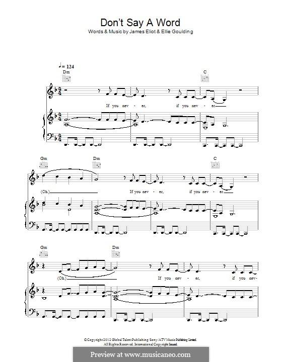 Don't Say a Word: Für Stimme und Klavier (oder Gitarre) by Ellie Goulding, James Eliot
