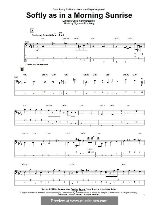Softly as in a Morning Sunrise: Für Bassgitarre by Sigmund Romberg