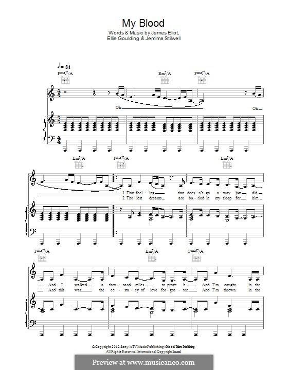 My Blood: Für Stimme und Klavier (oder Gitarre) by Ellie Goulding, James Eliot, Jemima Stilwell