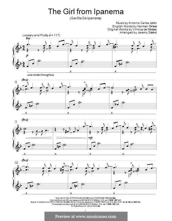 The Girl from Ipanema (Garota de Ipanema), for Piano: Sehr leichte Fassung by Antonio Carlos Jobim