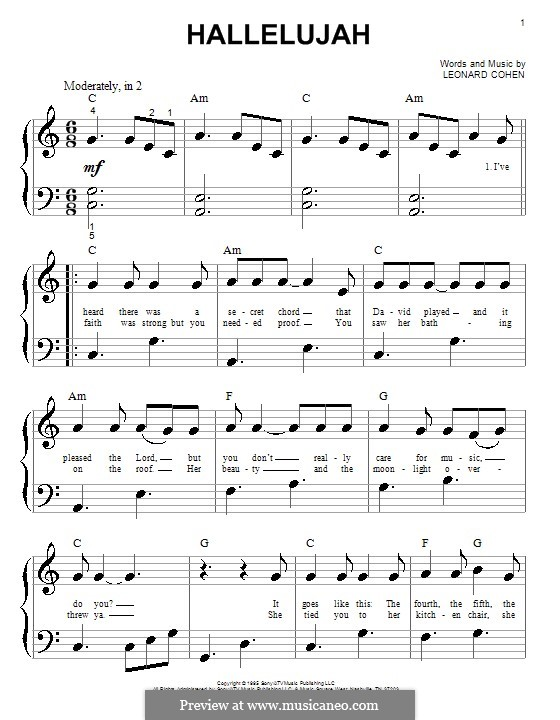Piano version: Sehr leichte Fassung by Leonard Cohen
