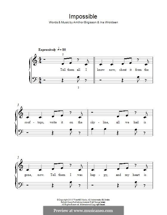 Impossible (Shontelle): Für Klavier by Arnthor Birgisson, Ina Wroldsen