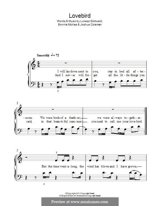 Lovebird (Leona Lewis): Für Klavier by Bonnie McKee, Joshua Coleman, Lukas Gottwald