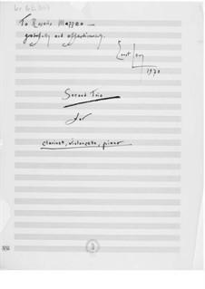 Trio Nr.2 für Klarinette, Cello und Klavier: Vollpartitur by Ernst Levy