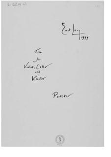 Trio für Violine, Cello und Klavier: Vollpartitur by Ernst Levy