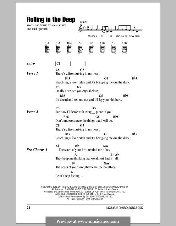 Rolling in the Deep: Für Ukulele by Adele, Paul Epworth