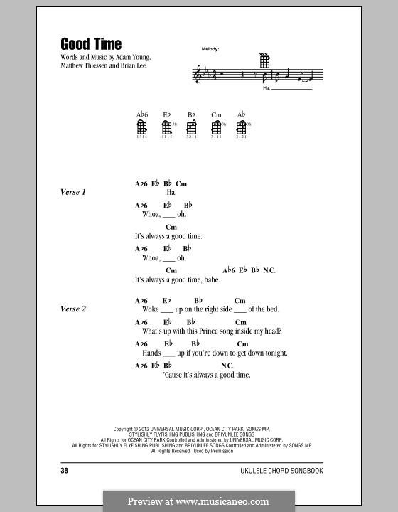Good Time (Owl City): Für Ukulele by Adam Young, Brian Lee, Matt Thiessen