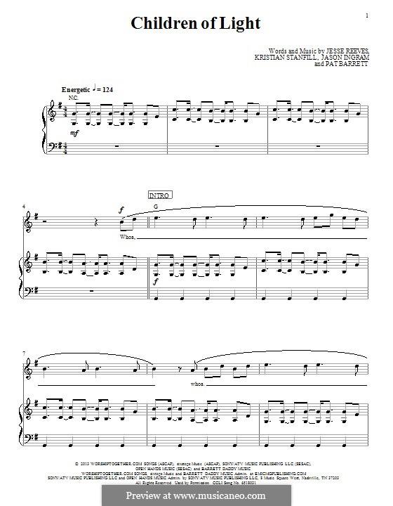 Children of Light (Passion): Für Stimme und Klavier (oder Gitarre) by Jason David Ingram, Jesse Reeves, Kristian Stanfill