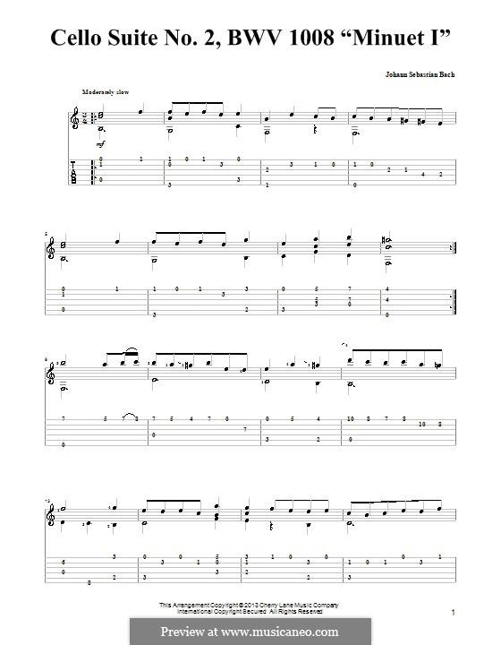 Suite für Cello Nr.1 in d-Moll, BWV 1008: Menuett I. Version für Gitarre mit Tab by Johann Sebastian Bach