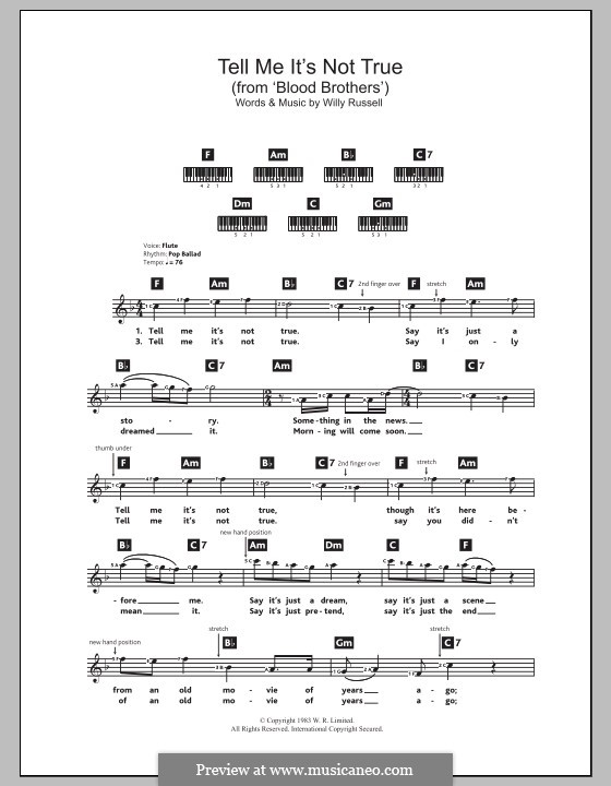 Tell Me It's not True (from Blood Brothers): Für Keyboard by Willy Russell