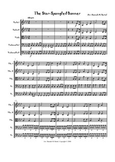 The Star Spangled Banner (National Anthem of The United States): For string quintet (or orchestra) by John Stafford Smith