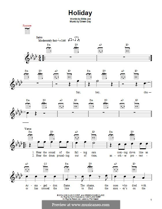 Holiday (Green Day): Für Ukulele by Billie Joe Armstrong, Tré Cool, Michael Pritchard