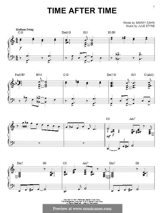Time After Time (Frank Sinatra): Für Klavier by Jule Styne