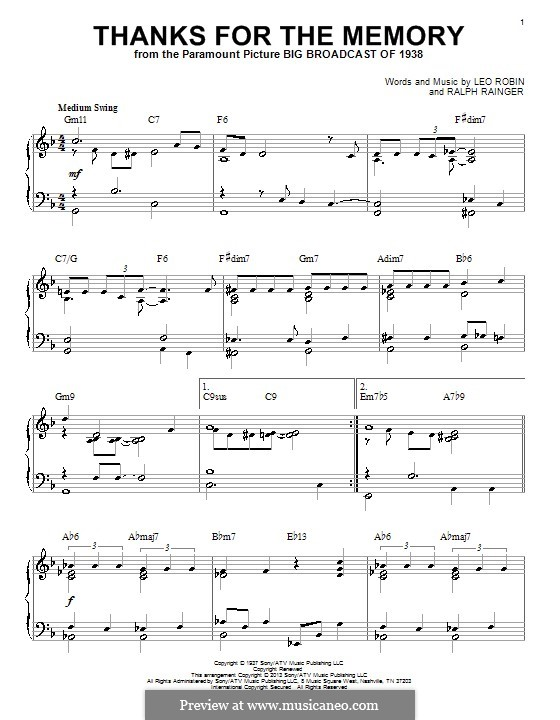 Thanks for the Memory: Für Klavier by Ralph Rainger