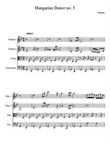 Tanz Nr.5 in fis-Moll: Für Streichquartett by Johannes Brahms