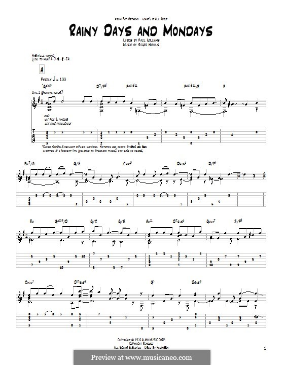 Rainy Days and Mondays (Carpenters): Für Gitarre mit Tab by Paul H. Williams, Roger Nichols
