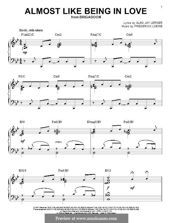 Almost Like Being in Love: Für Klavier by Frederick Loewe
