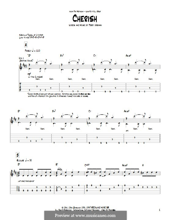 Cherish: Für Gitarre mit Tab by Pat Metheny