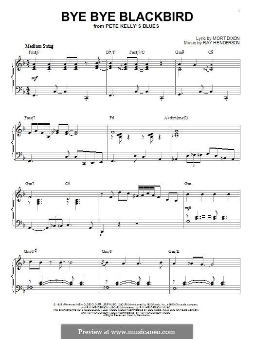 Bye Bye Blackbird: Für Klavier by Ray Henderson