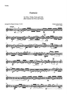 Fantasia for Oboe and Organ in F Minor: Version for oboe, violin, viola and cello – violin part by Johann Ludwig Krebs
